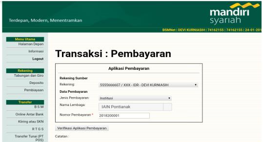 Internet Banking Bank Syariah Mandiri Akademik Iain Pontianak
